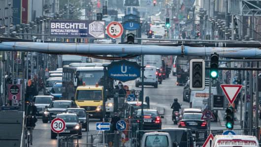 Heavy traffic in Friedrichstrasse, Berlin
