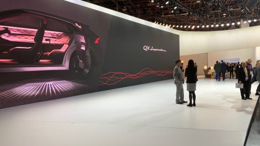 An empty display space for the Nissan Infiniti QX Inspiration concept car at the North American International Auto Show in Detroit, Michigan, January 14, 2019.