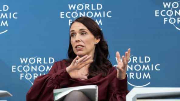 Jacinda Ardern, New Zealand's prime minster, gestures as she speaks during a panel session on day two of the World Economic Forum (WEF) in Davos, Switzerland, on Wednesday, Jan. 23, 2019.