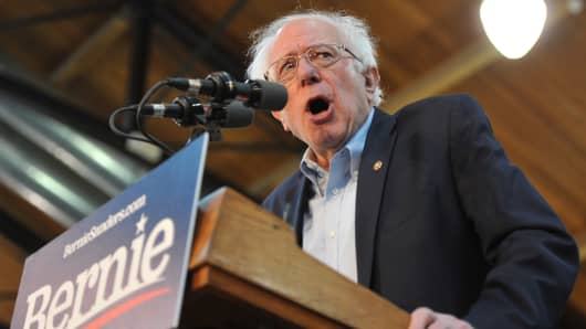 2020 Democratic presidential candidate U.S. Sen. Bernie Sanders (I-VT) speaks during a rally at the Iowa State Fairgrounds in Des Moines, Iowa.