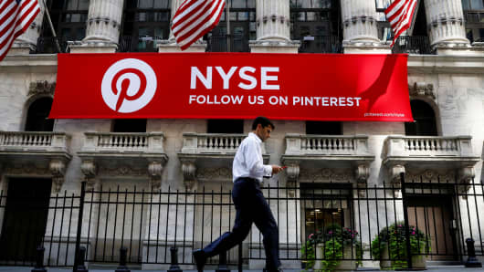 A Pinterest banner hangs on the facade of the New York Stock Exchange (NYSE) in New York City, 22 September 2017