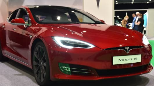 A Tesla Model S is displayed during the London Motor and Tech Show at ExCel on May 16, 2019 in London, England.