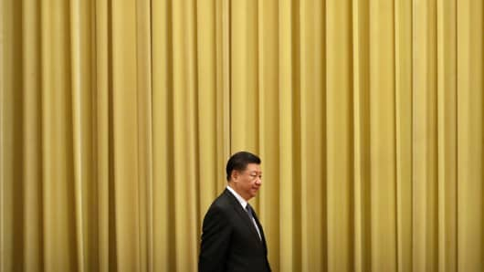 Chinese President Xi Jinping arrives for an event to commemorate the 40th anniversary of the Message to Compatriots in Taiwan at the Great Hall of the People January 2, 2019 in Beijing, China.