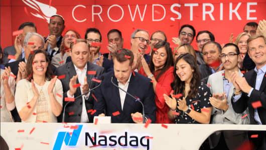 CrowdStrike IPO at the Nasdaq exchange June 12, 2019.