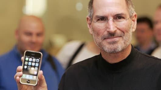 Steve Jobs shows off the first iPhone.