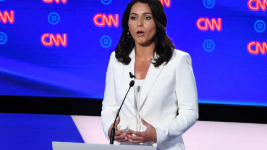 Democratic presidential hopeful US Representative for Hawaii's 2nd congressional district Tulsi Gabbard delivers her opening statement during the second round of the second Democratic primary debate of the 2020 presidential campaign season hosted by CNN at the Fox Theatre in Detroit, Michigan on July 31, 2019.