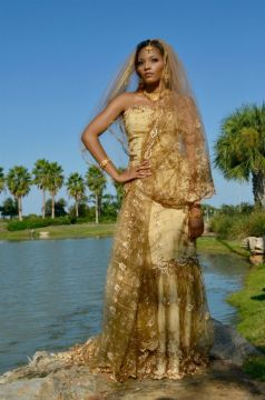 african wedding dress golden prints