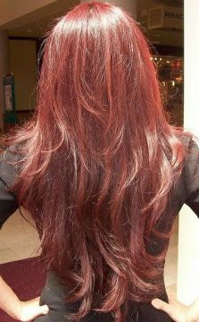 fine long layered red hair