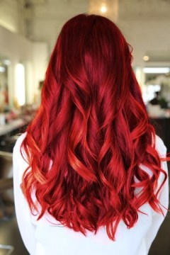 gorgeous long red hair soft waves