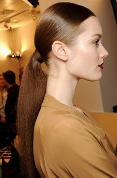 low pony hairstyle