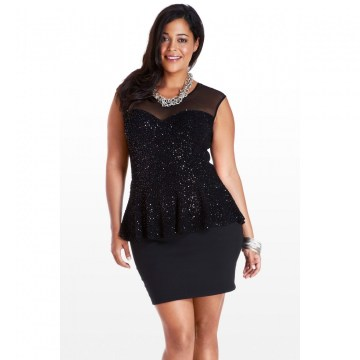 plus size peplum dress paillettes