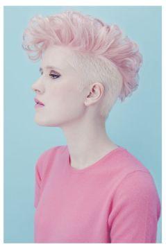soft pink mohawk shaved sides
