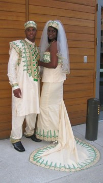 traditional cream african wedding dress