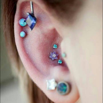purple and blue conch piercing