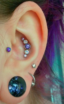 purple conch piercings