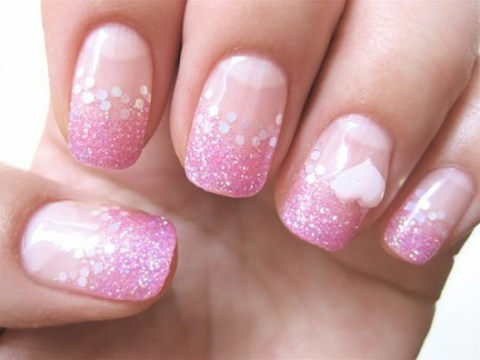 luxurious pink and white nails