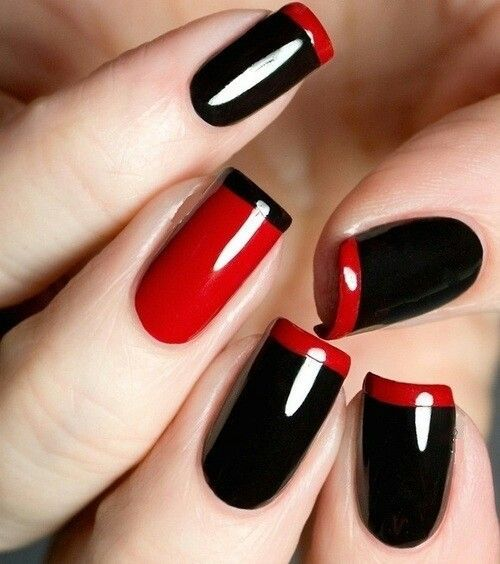 black and red nail design - 40 Red Nail Designs You'll Love, Get Creative! - FMag.com