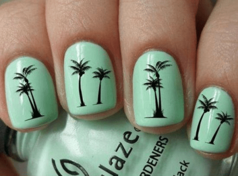 cool mint palm tree nail design