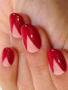geometrical red nails