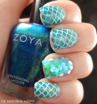 glittering mermaid nails