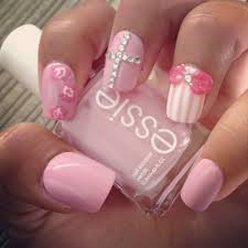 playful pink and white nails