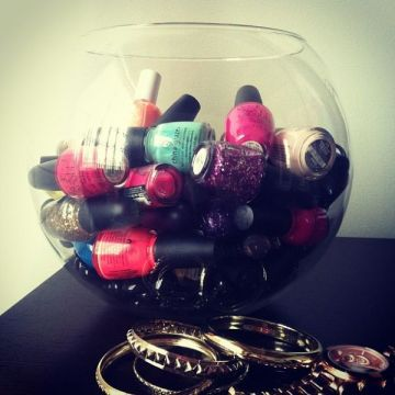 nail polish storage fish bowl