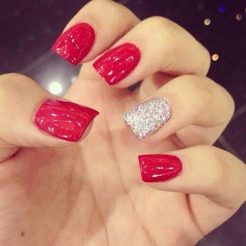 red nails glitter accent nail - 40 Red Nail Designs You'll Love, Get Creative! - FMag.com