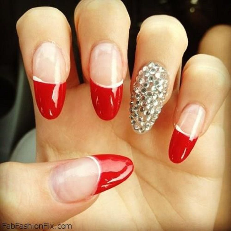 Red Tips Accent Nail
