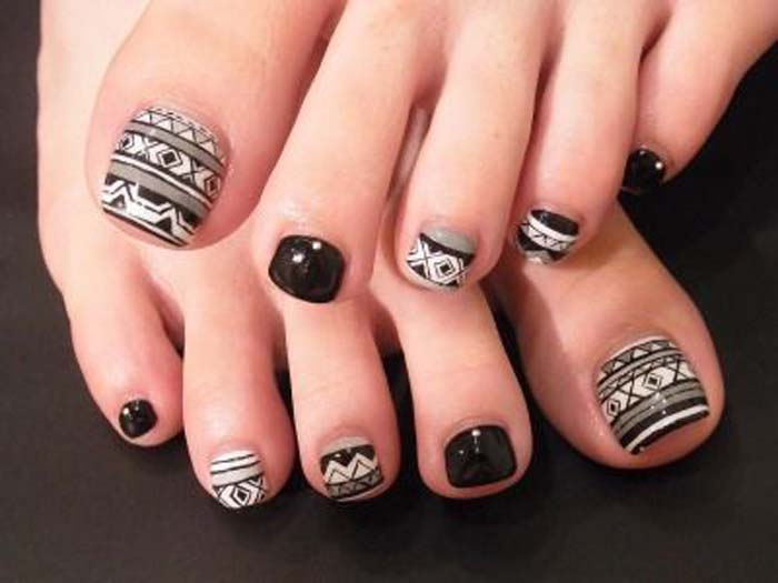 tribal toe nail art - 50+ Incredible Toe Nail Designs Ideas FMag.com