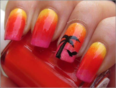 tropical palm tree nail design