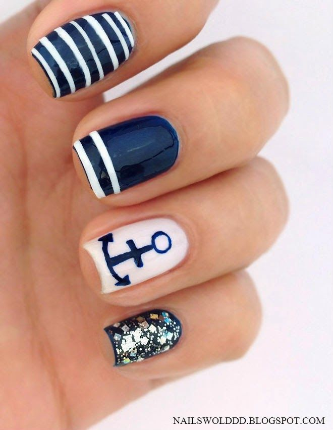 35 unique nail designs to try in summer fmag unique nail designs nautical nail art prinsesfo Image collections