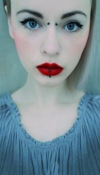 cute nose piercings cute bridge piercing red lips