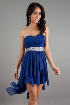 Chiffon Sweetheart Beading ASYM Royal Blue Cocktail Dress