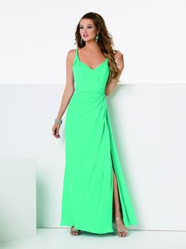 JOR_Europa Chiffon dress with a draped bodice and twisted straps