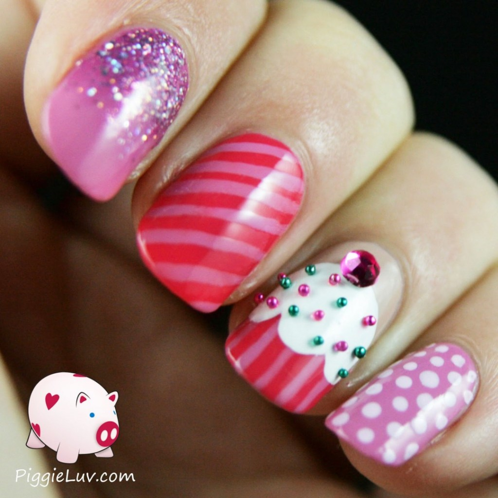 Cupcake Accent - 18 Amazing Nail Designs Ideas For Birthday FMag.com