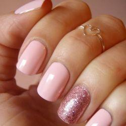 Glittery pink nails