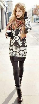Winter sweater dress with knit leggings