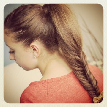 Easy Fishtail Braid Pony for Medium-Length Hair