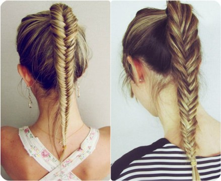 French Fishtail Braided Ponytail Hairstyle