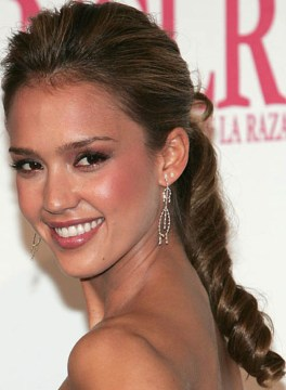 Jessica Alba's Curled Ponytail Hairstyle