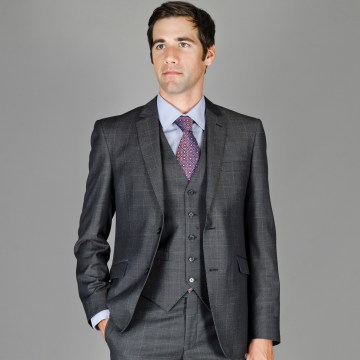Men's Slim Fit Wool and Silk Blend Vested Suit