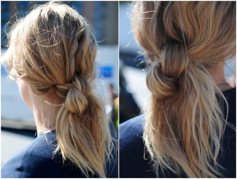 Messy Knotted Ponytail Hairstyle for Medium-Length Hair
