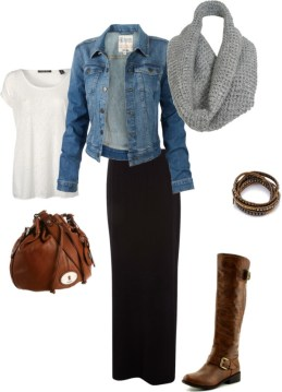 Casual maxi skirt outfit