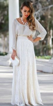 Lace maxi skirt outfit