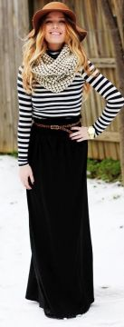 Winter maxi skirt outfit