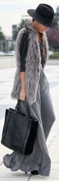 Maxi skirt with fur