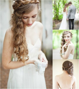Braid Crown Ponytail Hairstyle for Wedding