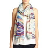 Bindya Abstract Printed Cashmere & Silk Scarf