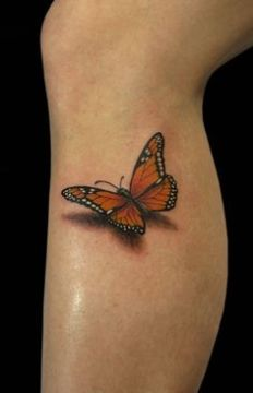 3D Monarch Butterfly on Side Leg