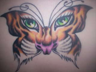 Animated Tiger Butterfly Tattoo